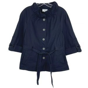 Loft Tie Front Ruffle Neck 3/4 Sleeve Navy Jacket